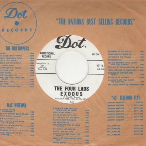 Four Lads - Never On Sunday/Exodus (DJ advance pressing with Dot company sleeve) - M10/ - 45 rpm Records
