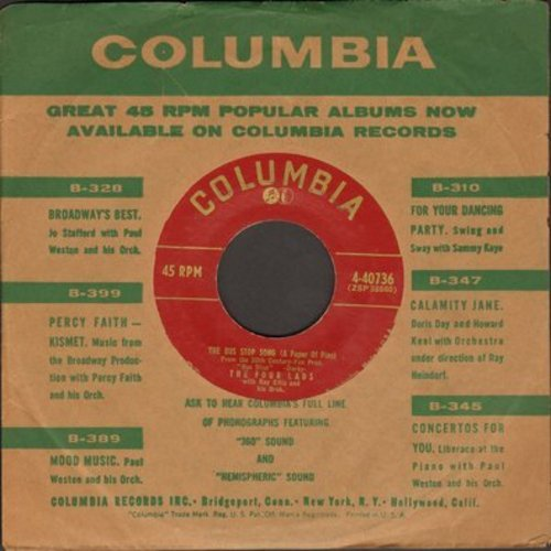 Four Lads - The Bus Stop Song (A Paper Of Pins)/A House With Love In It (with Columbia company sleeve) - NM9/ - 45 rpm Records