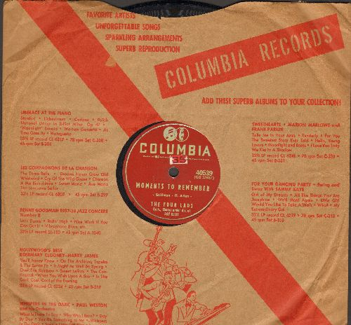 Four Lads - Moments To Remember/Dream On, My Love Dream On (10 inch 78 rpm record with Columbia company sleeve) - VG7/ - 78 rpm