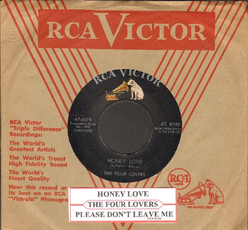 Four Lovers - Honey Love/Please Don't Leave Me (RARE early 4 Seasons two-sider with vintage RCA company sleeve and juke box label) - VG7/ - 45 rpm Records
