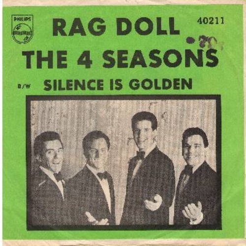 Four Seasons - Rag Doll/Silence Is Golden (with GREEN pictue sleeve) (minor wos) - NM9/EX8 - 45 rpm Records