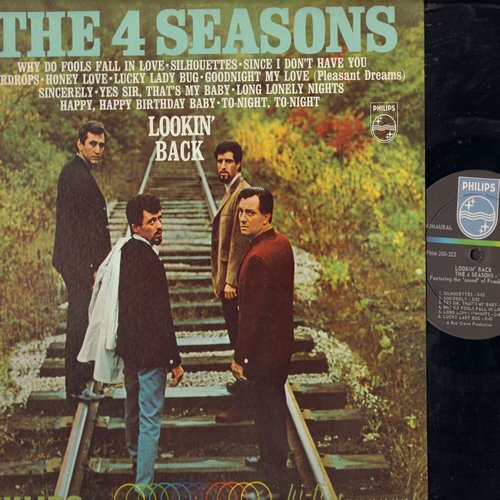 Four Seasons - Lookin' Back: Why Do Fools Fall In Love, Silhouettes, Lucky Lady Bug, Sincerely, Goodnight My Love (Pleasant Dreams), Sincerely, Yes Sir That's My Baby (Vinyl MONO LP record) - M10/NM9 - LP Records