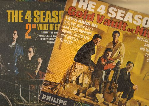 Four Seasons - 2 LPs for Price of 1! - Gold Vault Of Hits + 2nd Vault Of Golden Hits. 2 vinyl LP records includes hits Big Girls Don't Cry, Stay, Sherry, Peanuts, Dawn, Walk Like A Man, more! - VG7/VG6 - LP Records