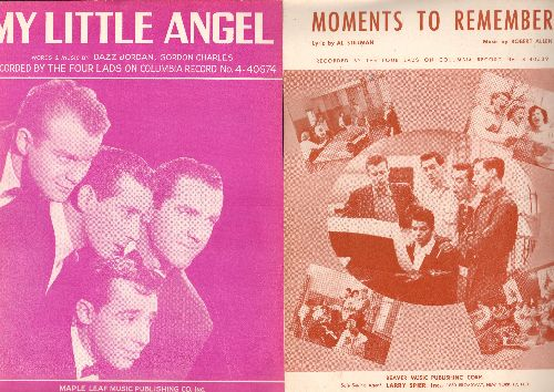 Four Lads - 2 Vintage Four Lads SHEET MUSIC for the price of 1! Includes Moments To Remember and My Little Angel (NICE cover art!) - NM9/ - Sheet Music