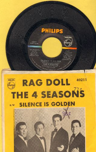Four Seasons - Rag Doll/Silence Is Golden (with YELLOW pictue sleeve) (minor wos) - NM9/VG7 - 45 rpm Records