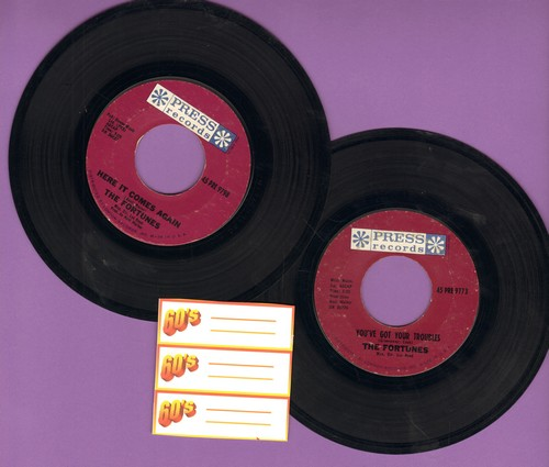 Fortunes - 2 for 1 Special: You've Got Your Troubles/Here It Comes Again (2 vintage first issue 45rpm records for the price of 1!) - EX8/ - 45 rpm Records