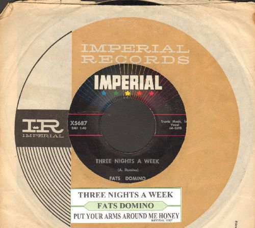 Domino, Fats - Three Nights A Week/Put Your Arms Around Me Honey (with juke box label and Imperial company sleeve) - EX8/ - 45 rpm Records