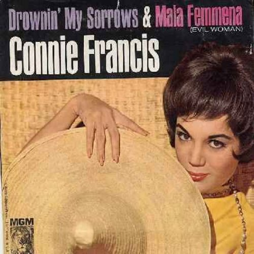 Francis, Connie - Mala Femmena/Drowning My Sorrows (with picture sleeve) - NM9/EX8 - 45 rpm Records