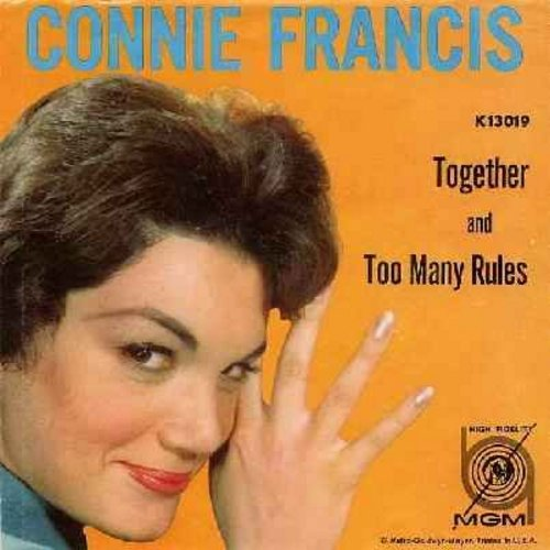 Francis, Connie - Together/Too Many Rules (with picture sleeve) - EX8/EX8 - 45 rpm Records