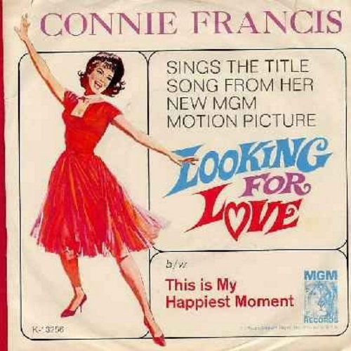 Francis, Connie - Looking For Love/This Is My Happiest Moment (with picture sleeve) - NM9/EX8 - 45 rpm Records