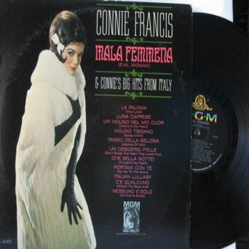 Francis, Connie - Mala Femmena & Connie's Big Hits From Italy (Mono): La Paloma, Un Desidero Folle (Don't Break The Heart That Loves You), Portami Con Te (Fly Me To The Moon) (Vinyl MONO LP record) - EX8/EX8 - LP Records