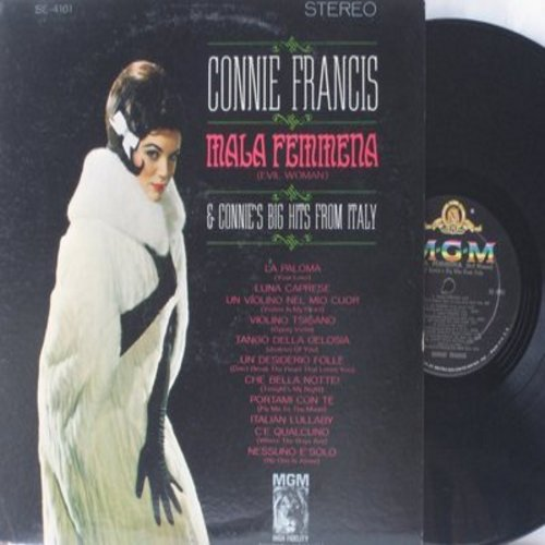 Francis, Connie - Mala Femmena & Connie's Big Hits From Italy: La Paloma, Un Desidero Folle (Don't Break The Heart That Loves You), Portami Con Te (Fly Me To The Moon) (Vinyl STEREO LP record) - NM/VG7 - LP Records