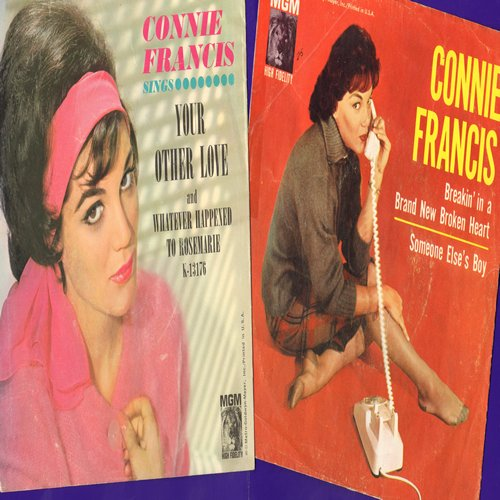 Francis, Connie - Someone Else's Boy (Schoener fremder Mann)/Whatever Happened To Rosemary (2 first pressing 45rpm records with picture sleeve for the price of 1!) - EX8/VG7 - 45 rpm Records