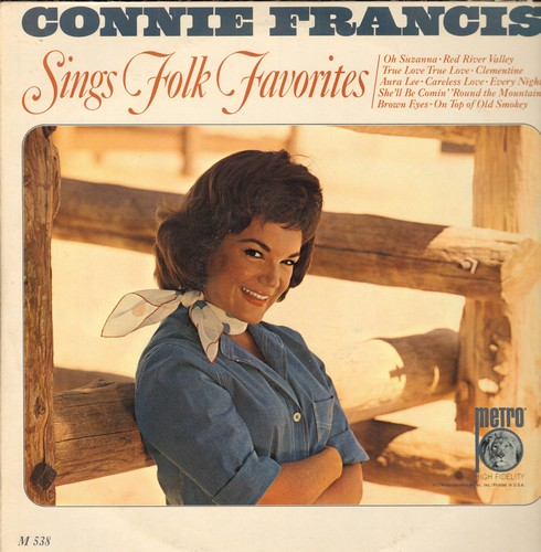 Francis, Connie - Folk Favorites: Oh Susanna, Clementine, On Top Of Old Smokey, Brown Eyes (vinyl Mono LP record) - NM9/EX8 - LP Records