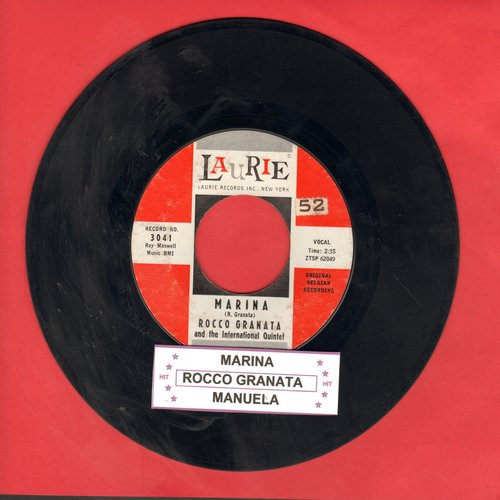 Granata, Rocco - Marina (Marina! Marina! Marina!)/Manuela (Marina was one of the most popular Italian Pop songs of Early Rock & Roll Era!)(with juke box label) - EX8/ - 45 rpm Records