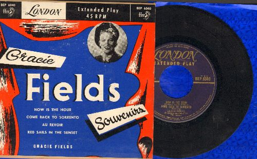 Fields, Gracie - Souvenirs: Now Is The Hour/Come Back To Sorrento/Au Revoir/Red Sails In The Sunset (vinyl EP record with picture cover) - VG7/VG7 - 45 rpm Records