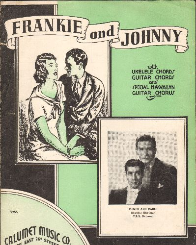 West, Mae - Frankie & Johnny - Vintage SHEET MUSIC for the Standard revived by Mae West. 1935 issue with 13 verses. NICE condition! - EX8/ - Sheet Music
