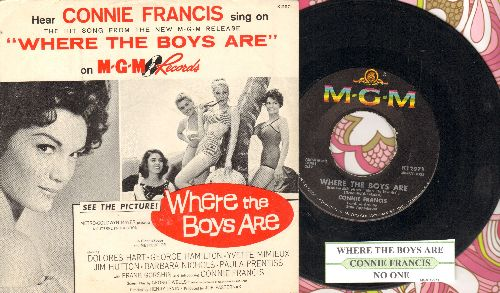 Francis, Connie - Where The Boys Are/No One (with juke box label and picture sleeve) - EX8/ - 45 rpm Records