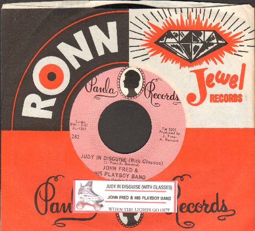 Fred, John & His Playboy Band - Judy In Disguise (With Glasses)/When The Lights Go Out (with juke box label and Paula company sleeve) - EX8/ - 45 rpm Records
