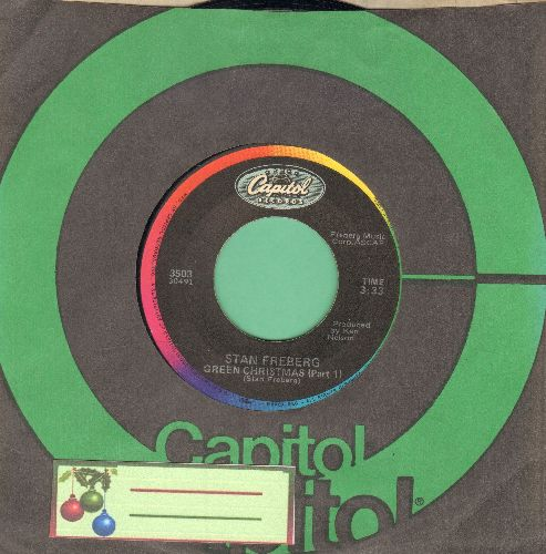 Freberg, Stan - Green Chri$tma$ (Parts 1 + 2) (orange label 1980s issue with Capitol company sleeve) - NM9/ - 45 rpm Records