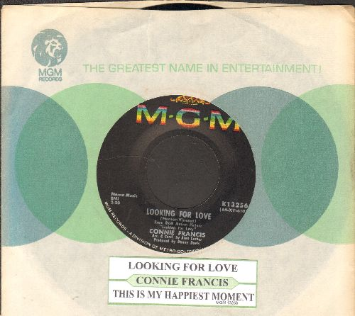 Francis, Connie - Looking For Love/This Is My Happiest Moment (with juke box label and MGM company sleeve) - EX8/ - 45 rpm Records
