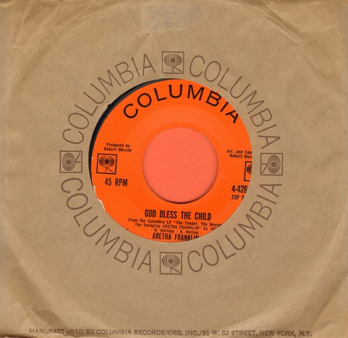 Franklin, Aretha - God Bless The Child/Trouble In Mind (with Columbia company sleeve) - EX8/ - 45 rpm Records