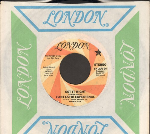 Fantastic Experience - Get It Right (double-A-sided DJ advance pressing featuring STEREO and MONO version of Disco Novelty, with vintage London company sleeve) - EX8/ - 45 rpm Records