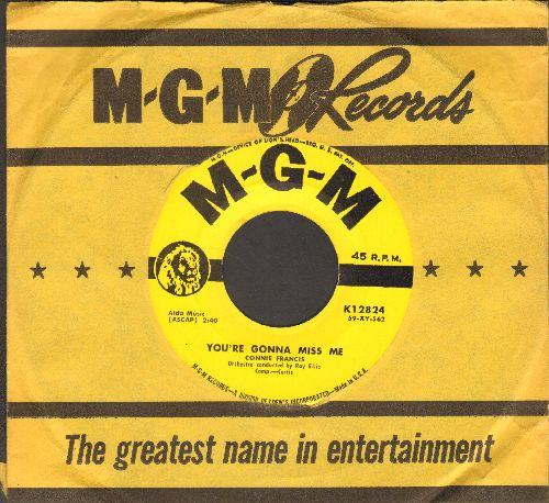 Francis, Connie - You're Gonna Miss Me/Plenty Good Lovin' (with vintage MGM company sleeve) - NM9/ - 45 rpm Records