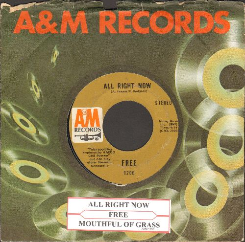 Free - All Right Now/Mouthful Of Grass (with juke box label and company sleeve) - EX8/ - 45 rpm Records