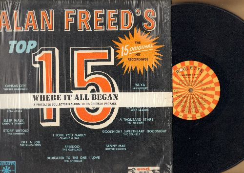 Freed, Alan - Alan Freed's Top 15: Speedo, Dedicated To The One I Love, Get A Job, Sleep Walk, Dance With Me Henry (Vinyl MONO LP record, early re-issue) - NM9/EX8 - LP Records