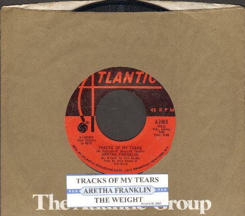 Franklin, Aretha - Tracks Of My Tears/The Weight (1970s pressing with juke box label and Atlantic company sleeve) - NM9/ - 45 rpm Records
