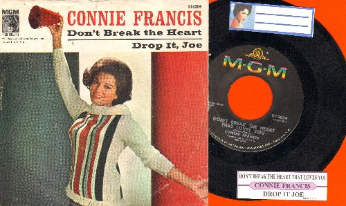 Francis, Connie - Don't Break The Heart That Loves You/Drop It, Joe (with picture  sleeve and juke box label) - NM9/VG7 - 45 rpm Records