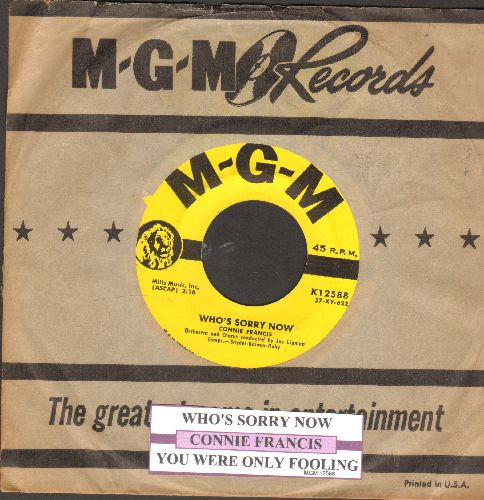 Francis, Connie - Who's Sorry Now/You Were Only Fooling (with MGM company sleeve with juke box label) - NM9/ - 45 rpm Records