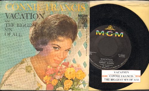 Francis, Connie - V-A-C-A-T-I-O-N/The Biggest Sin Of All, The (with juke box label and picture sleeve) - EX8/EX8 - 45 rpm Records