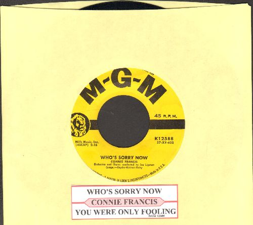 Francis, Connie - Who's Sorry Now (Connie Francis FIRST charted hit!)/You Were Only Fooling (with juke box label) - EX8/ - 45 rpm Records