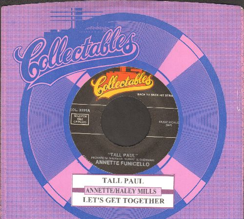 Annette - Tall Paul/Let's Get Together (by Haley Mills on flip-side) (double-hit re-issue with juke box label and company sleeve) - NM9/ - 45 rpm Records