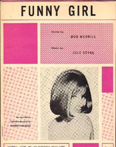 Streisand, Barbra - Funny Girl - Vintage SHEET MUSIC featuring NICE cover portrait of Brabra Streisand! - EX8/ - Sheet Music