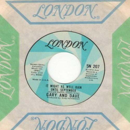 Gary & Dave - It Might As Well Rain Until September/September Lady Theme (with London company sleeve) - NM9/ - 45 rpm Records