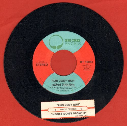 Geddes, David - Run Joey Run/Honey Don't Blow It (with juke box label) - NM9/ - 45 rpm Records