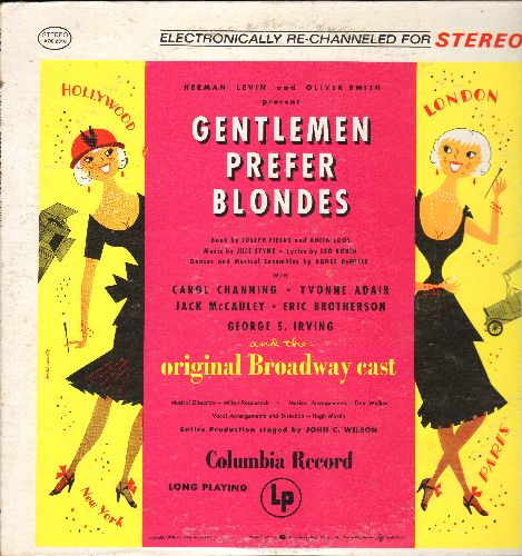 Channing, Carol - Gentlemen Prefer Blondes - Original Broadway Cast Recording, includes Carol Channing's signature song -Diamonds Are A Girl's Best Friend- (vinyl STEREO LP record, re-issue of vintage recordings) - NM9/NM9 - LP Records