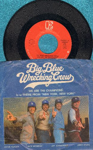 Big Blue Wrecking Crew - We Are The Champions/Theme From New York, New York (FANTASTIC Novelty 2-sider with picture sleeve) - EX8/VG6 - 45 rpm Records