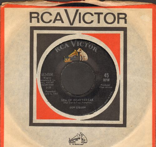 Gibson, Don - Sea Of Heartbreak/Lonesome Number One (with vintage RCA company sleeve) - NM9/ - 45 rpm Records