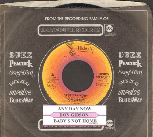 Gibson, Don - Any Day Now/Baby's Not Home (with juke box label and ABC company sleeve) - NM9/ - 45 rpm Records