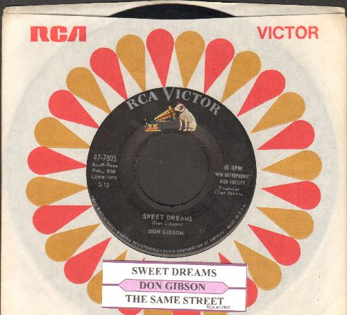 Gibson, Don - Sweet Dreams/The Same Street (with juke box label and RCA company sleeve) - EX8/ - 45 rpm Records