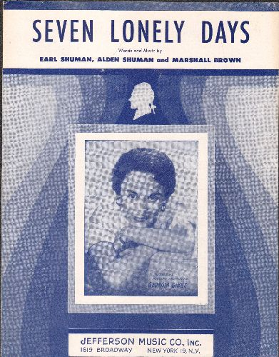 Gibbs, Georgia - Seven Lonely Days - Vintage SHEET MUSIC with BEAUTIFUL cover portrait of singer Georgia Gibbs! - EX8/ - Sheet Music