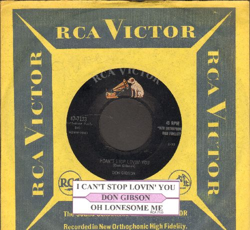Gibson, Don - I Can't Stop Lovin' You/Just One Time (with juke box label and RCA company sleeve) - EX8/ - 45 rpm Records