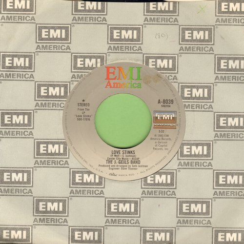 Geils, J. Band - Love Stinks (Yeah Yeah)/Till The Walls Come Tumblin' Down (with EMI company sleeve) - VG7/ - 45 rpm Records