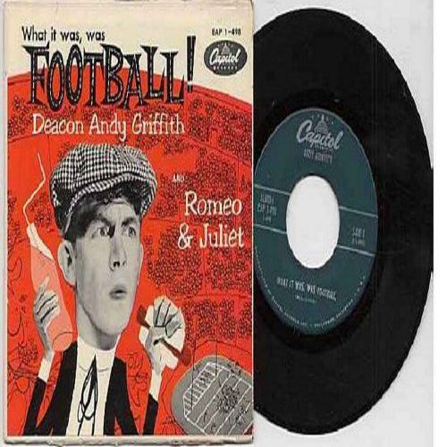 Griffith, Andy - What It Was, Was Football/Romeo & Juliet (Vinyl EP record with picture cover) - VG6/VG6 - 45 rpm Records