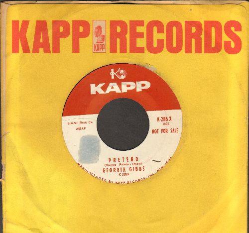 Gibbs, Georgia - Pretend/Hamburgers, Frankfurters And Potato Chips (DJ advance pressing with vintage Kapp company sleeve) - NM9/ - 45 rpm Records