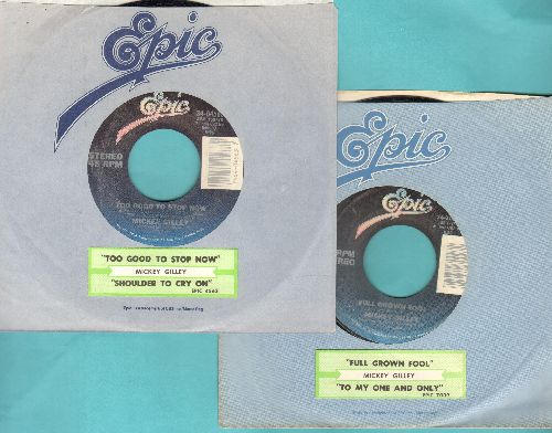 Gilley, Mickey - 2 first issue 45s with company sleeve and Epic company sleeve. Includes hits Full Grown Fool and Too Good To Stop Now. - NM9/ - 45 rpm Records